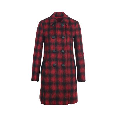 check pattern double button coat